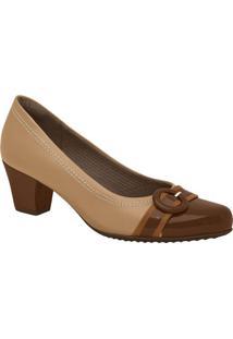 Sapato Com Fivela- Marrom & Bege- Salto: 5Cmpiccadilly