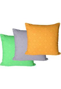 Kit Com 3 Capas Para Almofadas Triã¢Ngulos Geomã©Tricos 35X35Cm - Multicolorido - Dafiti