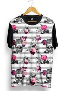 Camiseta Bsc Rockabilly Skull Rose Full Print - Masculino