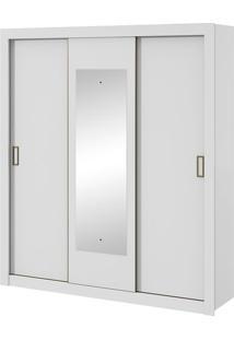 Armário 3 Portas De Correr Com Espelho Apoena Branco