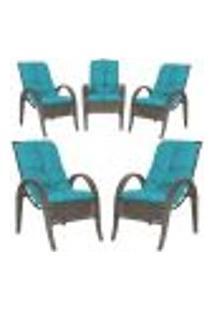 Cadeiras 5Un P/ Jardim Lazer Edicula Varanda Descanso Fibra E Tramas Napoli Plus Pedra Ferro A20