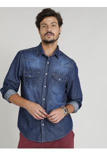 Camisa Jeans Masculina Com Recortes Manga Longa Gola Esporte Azul Escuro