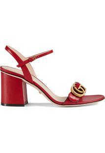 Gucci Sandália De Couro Com Salto Médio - Vermelho