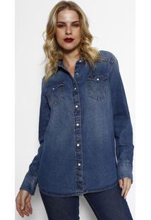 Camisa Jeans Import Com Pesponto- Azul- Wranglerwrangler