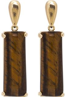 Brinco Retangular Semijoia Banho De Ouro 18K Pedra Natural Olho De Tigre