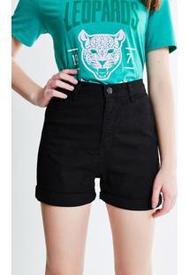 Short Mom Cintura Alta Em Jeans Preto
