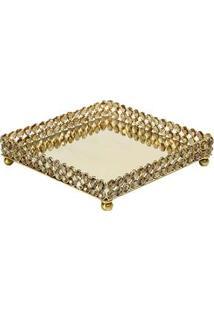 Bandeja Quadrada De Cristal E Espelho Wolff India 3696 – Dourado