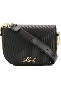 Karl Lagerfeld Bolsa De Couro 'K/Signature' - Preto