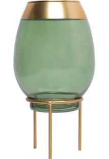 Castiçal De Vidro Royal Verde 13X26Cm