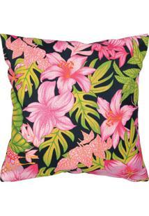 Capa Para Almofada Floral- Rosa & Verde- 40X40Cmartesanal