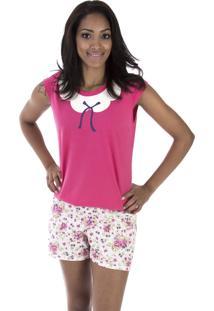 Pijama Curto Inspirate Floral Com Laço Pink