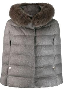 Herno Faux Fur Collar Puffer Jacket - Cinza