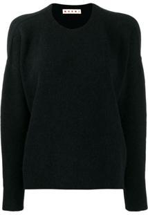 Marni Suéter Decote Arredondado - Preto