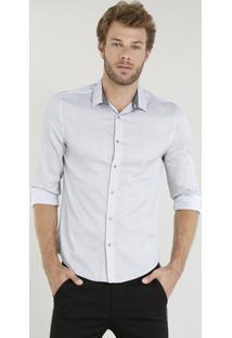 Camisa Masculina Comfort Texturizada Manga Longa Cinza Claro
