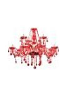 Lustre De Cristal Candelabro Maria Thereza 12 Lampadas Vermelho Bivolt