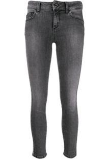Liu Jo Cropped Skinny Jeans With Glitter Stripe - Cinza