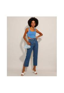 Calça Reta Jeans Com Fenda Cintura Super Alta Azul Médio