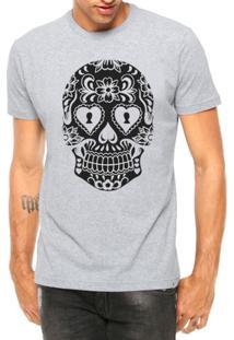 Camiseta Criativa Urbana Caveira Mexicana Cartas Tattoo Manga Curta - Masculino-Cinza
