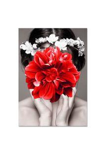 Quadro 60X90Cm Canvas Helena Mulher Com Flor Vermelha Nórdico