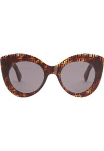 Fendi Eyewear Óculos De Sol 'F Is Fendi' - Marrom