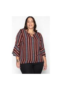 Blusa Almaria Plus Size Leeban Crepe Estampado Vermelho