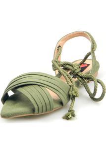 Sandalia Rasteira Love Shoes Bico Folha Amarração Cruzada Verde Militar