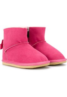 Miki House Ankle Boot Com Laço - Rosa
