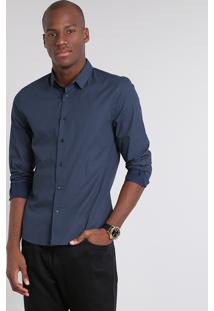 Camisa Masculina Slim Estampada Geométrica Manga Longa Azul Marinho