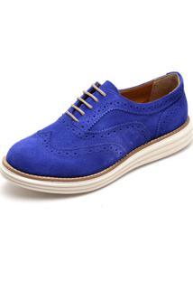 Oxford Q&A Mocassim Casual Camurça Azul Ref:300 - Tricae