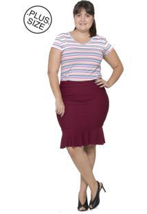 Blusa Estilo Fino Plus Size Listras Colorida
