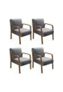 Kit 4 Cadeiras Anita Poltrona Decorativa Braço Madeira Para Escritório, Recepção, Sala De Estar Vários Ambientes - Linho Cinza