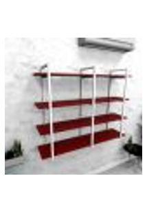 Estante Industrial Escritório Aço Cor Branco 120X30X98Cm Cxlxa Cor Mdf Vermelho Modelo Ind43Vres