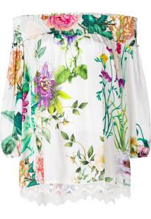 P.A.R.O.S.H. Blusa Com Estampa Floral - Branco