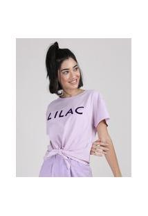 """Blusa Feminina Cropped Lilac"""" Com Nó Manga Curta Decote Redondo Lilás"""""""