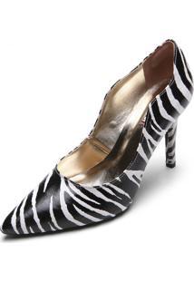 Scarpin Amber Zebra Preto/Branco