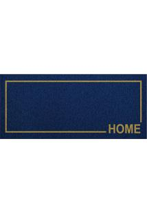"Capacho ""Home""- Azul Marinho & Bege- 70X30Cm- Kakapazi"