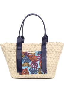 Bolsa Petite Jolie Fleur Azul-Marinho/Bege