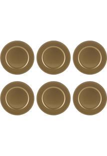 Jogo 6 Sousplats De Plástico 33Cm Gold Clean Bon Gourmet