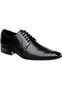 Sapato Social Masculino Em Couro Croco Bigioni - Masculino-Preto