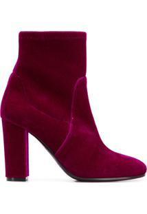 Via Roma 15 Velvet Ankle Boots - Rosa