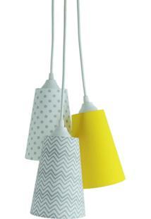 Lustre Crie Casa Pendente Beb㪠Chevron Cinza, Branco E Amarelo - Cinza - Dafiti