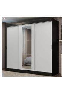 Guarda-Roupa Casal Madesa Kansas 3 Portas De Correr Com Espelho 3 Gavetas Preto