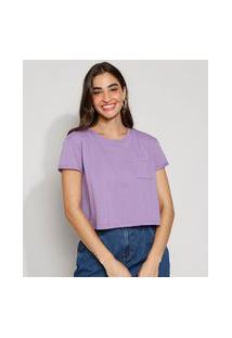 Camiseta Feminina Básica Manga Curta Cropped Com Bolso Decote Redondo Lilás