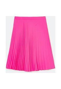 Saia Plissada Midi Lisa Em Crepe Curve E Plus Size Rosa