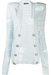Balmain Square Shoulder Distressed-Effect Knit Jacket - Azul