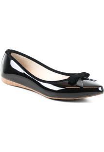 Sapatilha Tag Shoes Verniz Laço Bico Fino Conforto Dia A Dia Feminina - Feminino-Preto