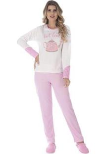 Conjunto Pijama Victory Inverno Tradicional Feminino - Feminino-Rosa