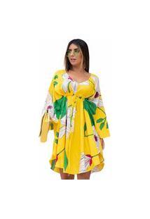 Vestido Solto Com Amarração Estampado Amarelo Flores
