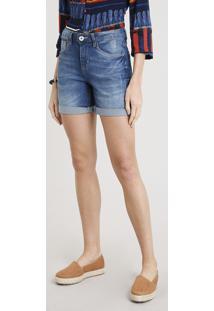 Bermuda Jeans Feminina Com Barra Dobrada Azul Escuro