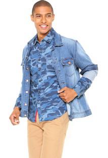 Camisa Jeans Gangster Camuflada Azul
